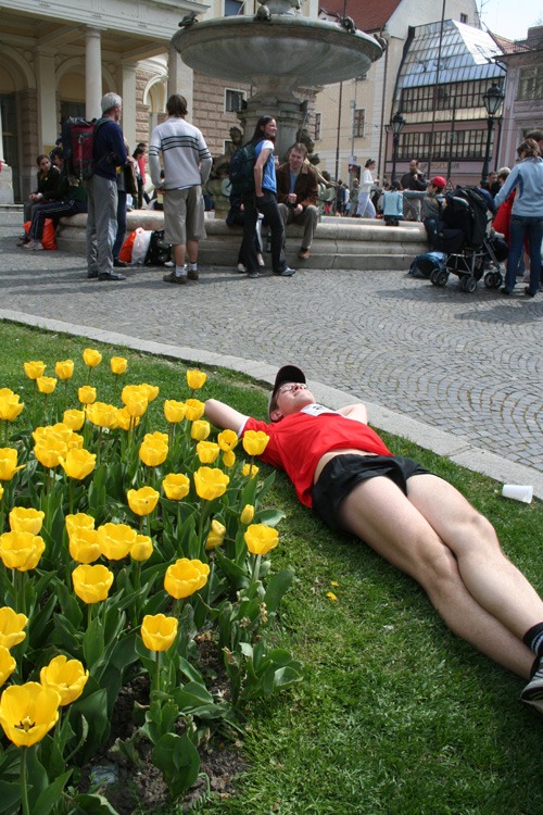 Me resting next to tulips