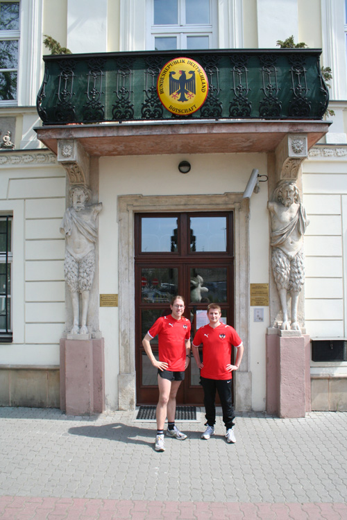 Dominik & Christoph in front of the German embassy