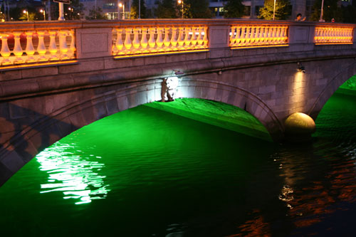Green, white and orange - That's the Irish flag and that bridge!