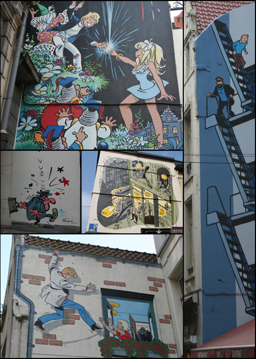 Typical Brussels house walls with comic paintings