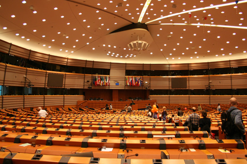 Conference hall of the EU Parliament in Brussels