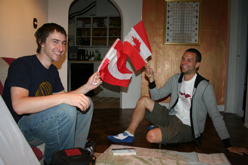 "Tim and James in a ""flag-attack"" [Austria ""against"" Canada] :-)"