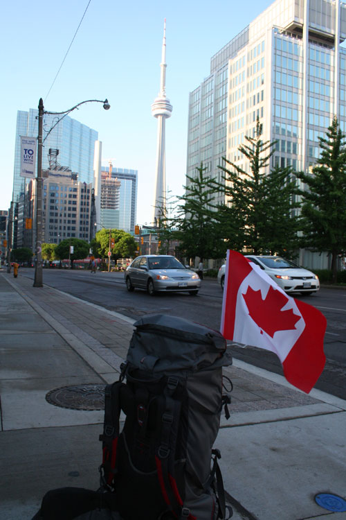 My backback with the Canadian flag and the CN-Tower