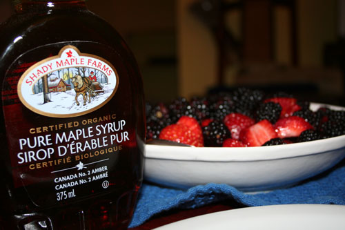 Pure maple syrup, fruits and ...