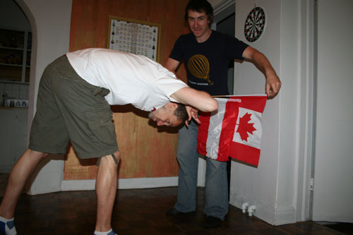 James and Tim playing a bullfight with the Austrian and the Canadian flag