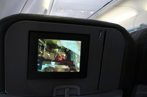 Watching an airplane-crash documentation on an airplane