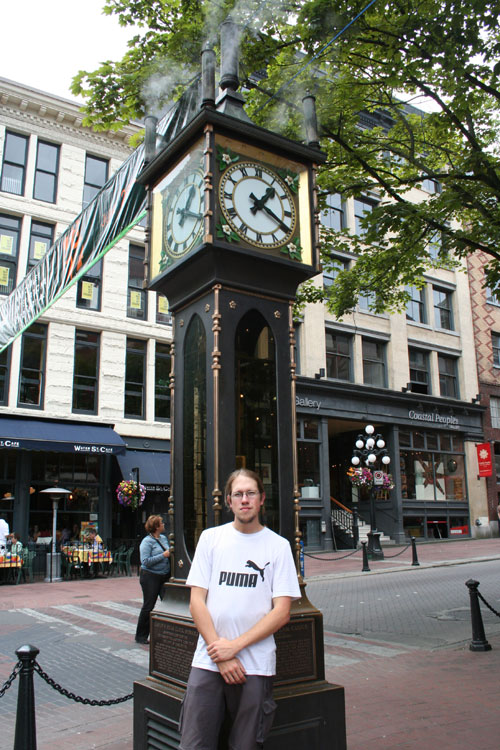 In front of the steam-clock in Vancouver