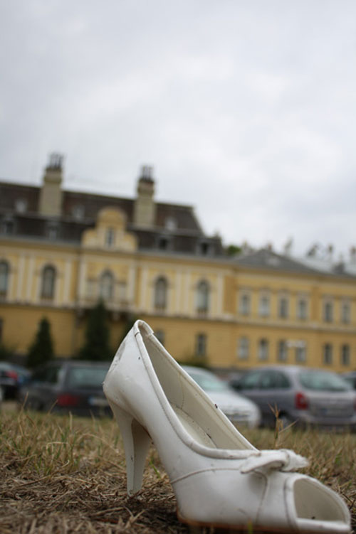 A shoe (don't ask) and and the former Tasr's Palace in the background