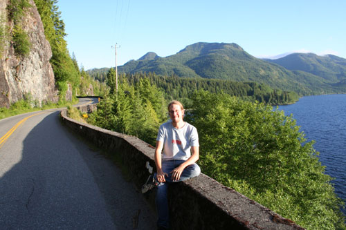 Me sitting on the only road to Tofino