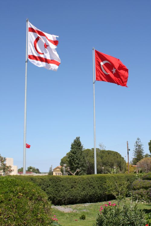 "The flag of the ""Turkish republic of Northern Cyprus"" and Turkey"